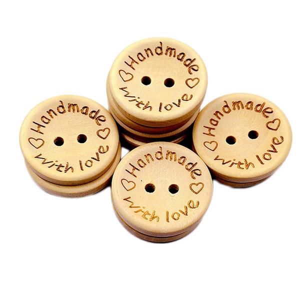 100 pezzi nuovo fatto a mano con pulsante di amore forma rotonda bottoni in legno naturale per cucire scrapbooking e fai-da-te decorazione artigianale