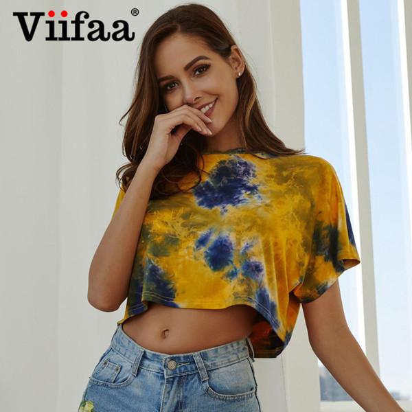 Viifaa Solto Tie-Dyed Impressão Curto T Shirt Verão Streetwear Mulheres Oversized Camiseta Femme 2019 Vogue Top Colheita Tshirt