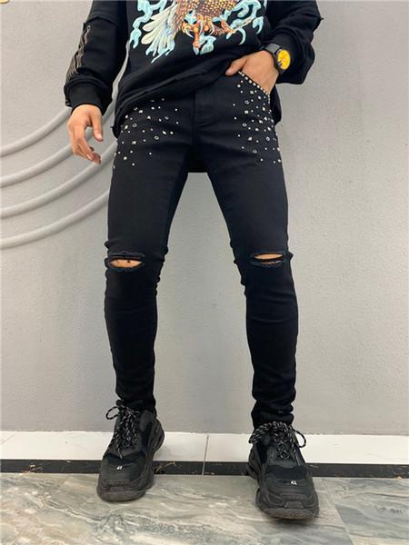 2020 para hombre insignia Rips estiramiento Negro pantalones vaqueros del diseñador de moda Slim Fit Washed Denim Moto Pantalones con paneles de Hip Hop Trousers2