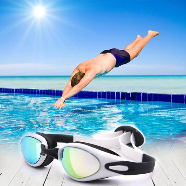 Óculos de natação profissional óculos de natação adultos à prova d 'água de natação proteção uv anti fog piscina óculos