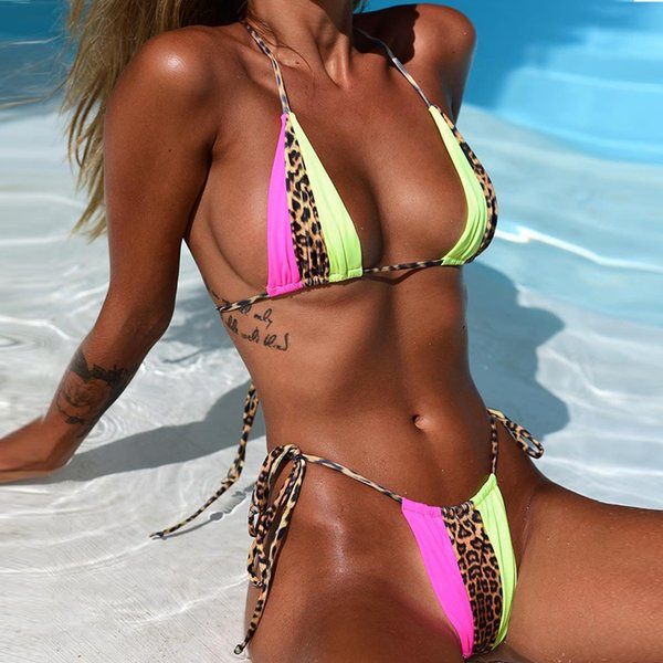 b90c117c5c VIEUNSTA leopard Patchwork beachwear Bikini Micro string swimsuit push up  sexy bikini set swimwear women biquini
