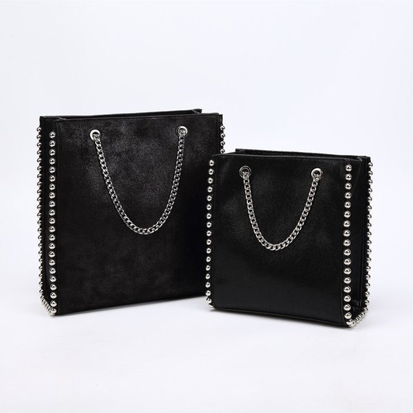 Large Capacity Tote Bag Women Fashion Chain Rivet Shoulder Bags Lady Commuting Pu Leather Purses Bags Solid Color Bag Bead