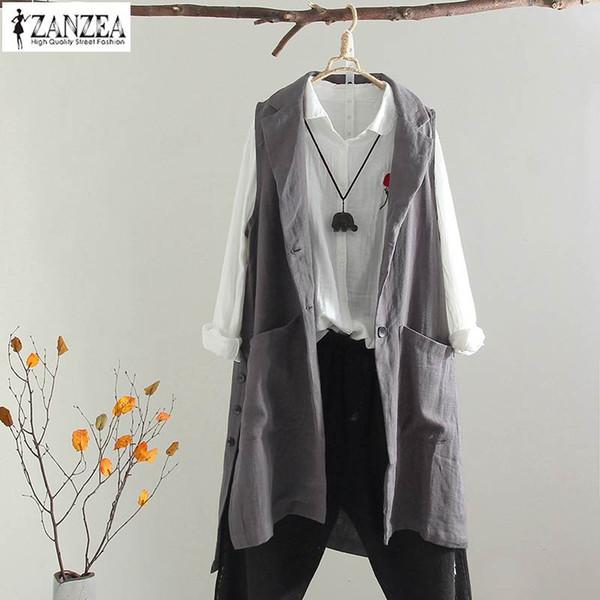 ZANZEA Lapel Vests Cardigan Women Sleeveless Jacket Oversized Female Casual Long Coat Button Gilet Top Femme Lady Split Overcoat