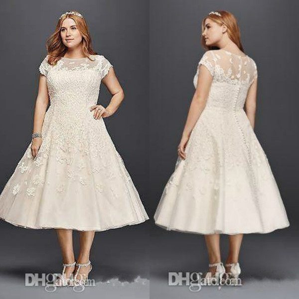 Discount Vintage Tea Length Wedding Dresses Plus Size A Line 2019 Garden  Outdoor Oleg Cassini Short Sleeve Holiday Beach Sheer Back Bridal Gowns A  ...