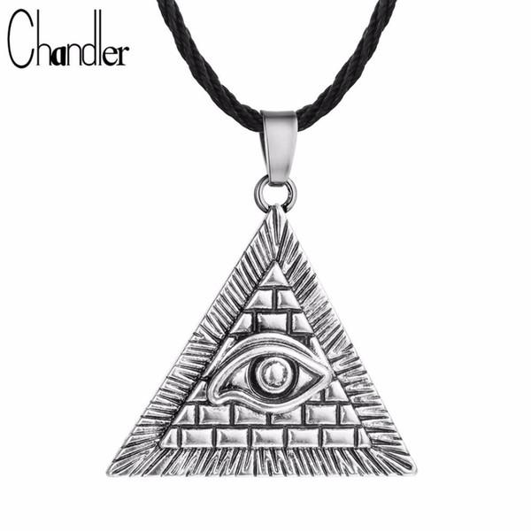 вся продажаChandler Египет египетская пирамида всевидящее дурной глаз иллюминаты античное серебро очарование кулон ожерелье для мужчин мальчики мода бижутерии