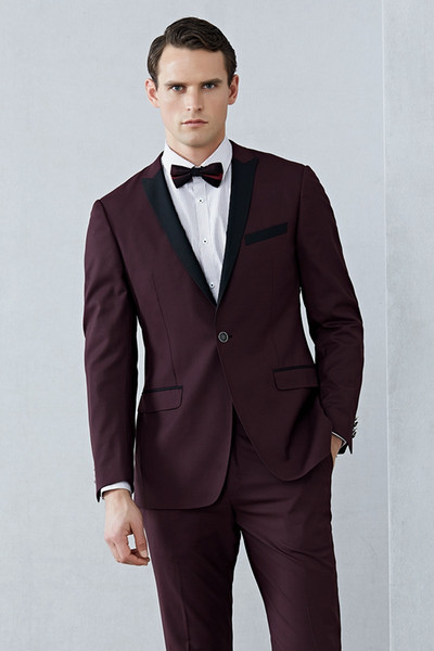 2019 Shawl Claret Mens Suits Tuxedos Bridegroom Wedding Suit Formal Men Tuxedos Black And Red Jackets (Jacket+Pants+Bow Tie)