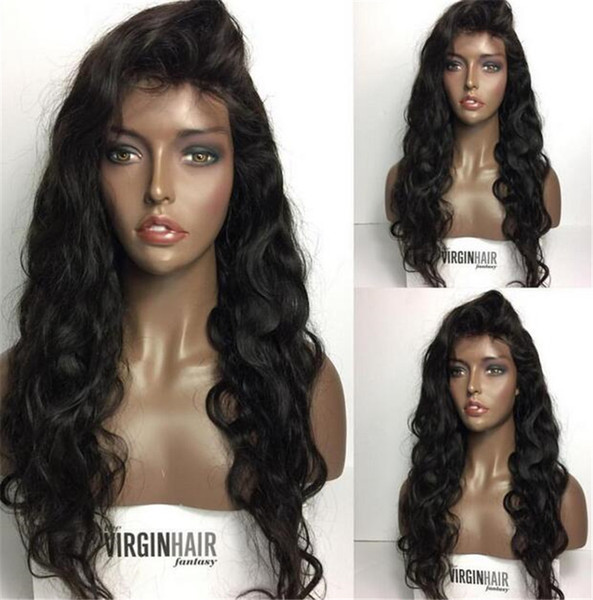 Loose Wave Human Hair Wigs With Side Part Bangs Unprocessed Peruvian Full Lace Wig Bleached Knots Lace Front Wigs Glueless