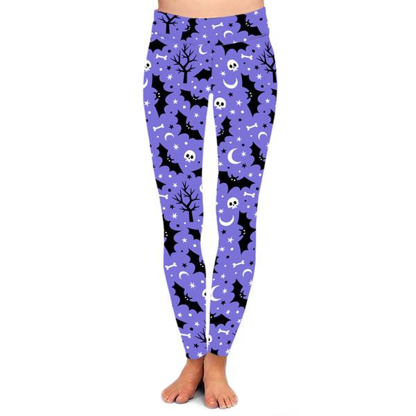 Leggings stampati a pipistrello di fitness da donna Leggings elasticizzati di alta qualità di Halloween con stampa digitale di alta qualità