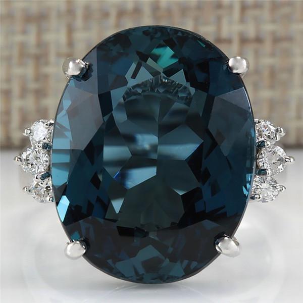 Top Qualität Silber Farbe Oval Blau CZ Stein Ring Bague Mode Zirkonia Ring Jahrestag Schmuck Für Frauen anel L5K255