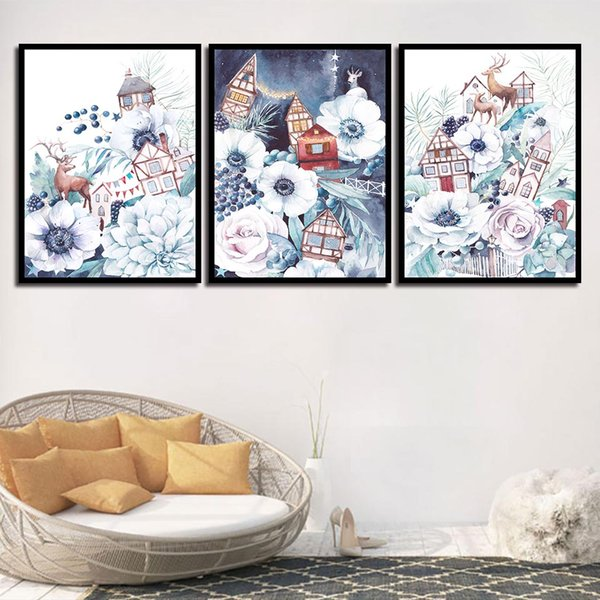 Wall Pictures For Home Wedding Decoration Beautiful Flower House Nordic Style Canvas Art HD Print Painting Minimalist Posters