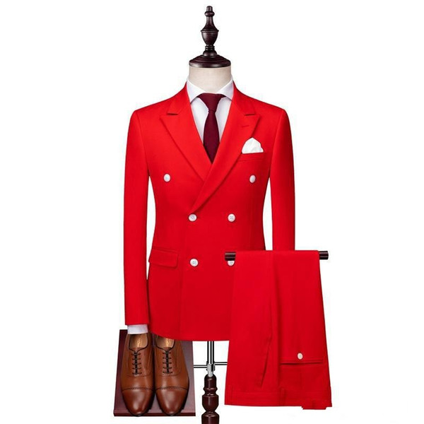Brand New Red Groom Tuxedos Double-Breasted Groomsmen Wedding Tuxedos Men Formal Dinner Party Prom Blazer Suit (Jacket+Pants+Tie) 1056