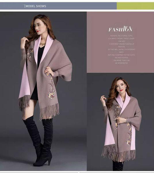 2019 Autumn New Women's Elegant Tassel Wrap Swing Cardigan Knitted Oversized Sweater Scarf Cape Poncho Long Cardigan Winter