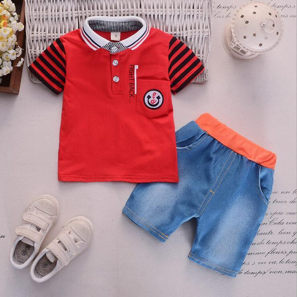 New Kids Short-sleeved Two-piece Kids Suit for Babies in 2019, Casual Edition of 0-4 Years Old Cartoon Turn-collar Short-sleeved Jeans Short