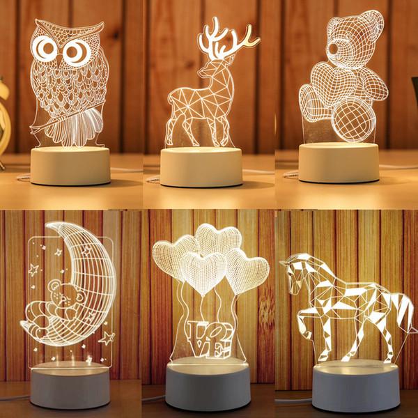 luz Night 3D LED Branco Quente USB Acrílico luzes óptica decoração Nights lâmpadas crianças presentes para o projeto bebê criança DIY