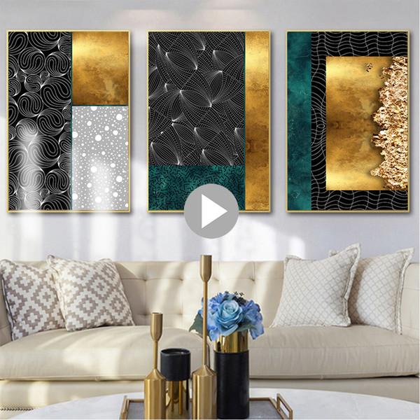 Acheter Simple Abstraite Prints Nordique Métallique Géométrique Mur Art Vivid Toile Peinture 3 Styles Pour Salon Home Decor Non Encadrée De 35 88 Du