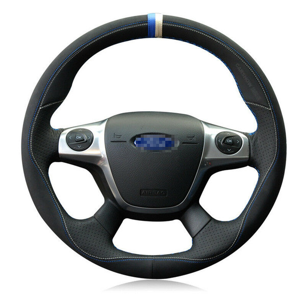 For Ford Kuga / Focus DIY Hand-stitched Car Steering Wheel Cover Top Leather