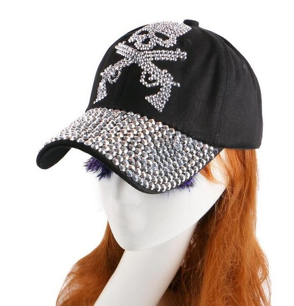 Custom Snapbacks Skull Cap with Diamong Two Guns Cheap Men Fashion Street Flexfit Curved Hats Store Women Stylish Baseball Caps For Sale