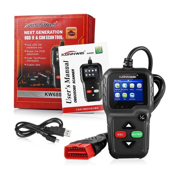 ODB2 KONNWEI KW680 Herramienta de diagnóstico de automóviles OBD2 Escáner automotriz Mejor AD410 Motor Lector de códigos de fallas Herramienta de escaneo de obd 2 Autoscanner