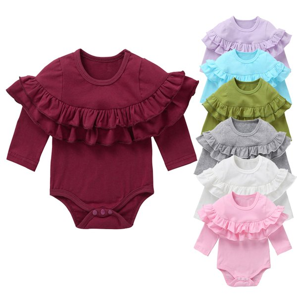 New Arrival Fashion Cute Rompers for Girls Long Sleeve CottonTriangle Onesie Baby 8 Colors for Choose 19072401