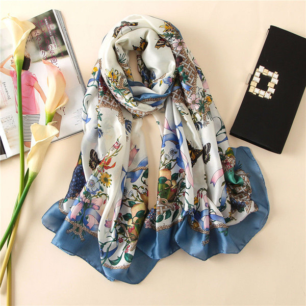 Soft 100% Natural Silk Scarf Women Spring Autumn Luxury Blue Butterfly Pashmina Wraps and Shawls Long Foulard 2018 New