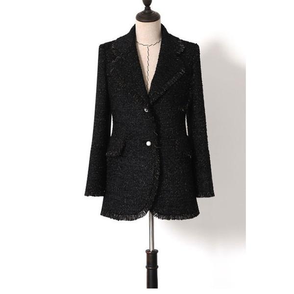 High Quality Designer Winter Wool Jackets and Coats Women Elegant Notched Collar Solid Black Long Woolen Coat Female Overcoat