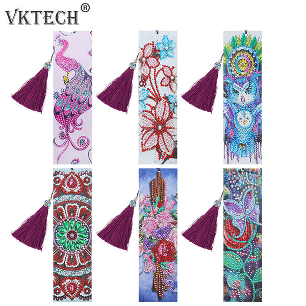 top popular Home & Garden DIY Special Shaped Diamond Painting Leather Tassel Bookmark Embroidery Crafts Book Page Mark for Book School Office Supplies 2021