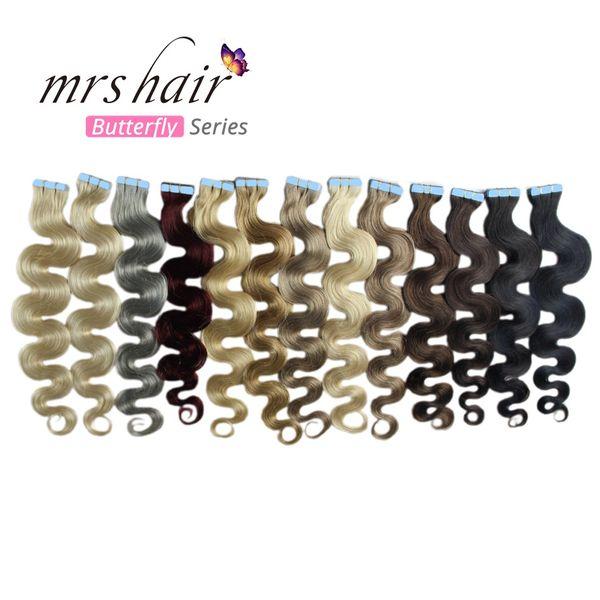 MRSHAIR Dark Blonde #27 Tape in Human Hair Extensions Virgin Hair Body Wave 100% Remy Human Hair Extension 20pcs per pack Platinum