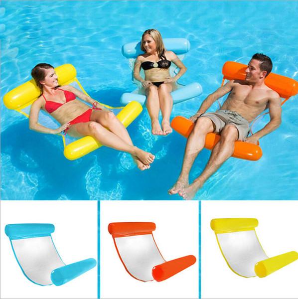 Hamaca de agua plegable al aire libre para una sola persona Aumento de colchón de aire inflable Tumbona de playa Cama para dormir flotante juguete de juguete
