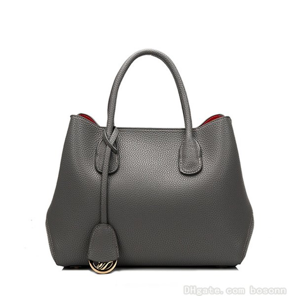 High Quality Genuine Leather Tote Bag Fashion Luxury Womens Handbag Designer Large Messenger Purse (Red Black Grey)