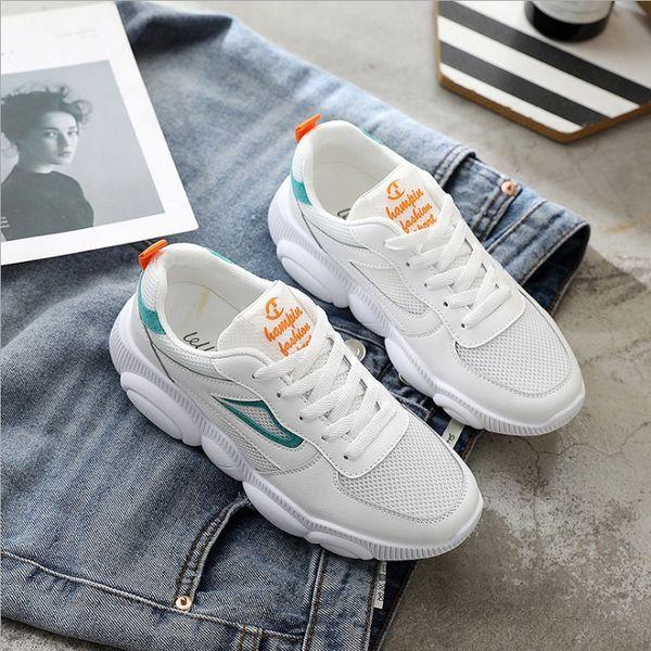 2019 Yeni Moda Kadınlar Casual Ayakkabı Trendleri Ins Kadın Beyaz Flats platformu İlkbahar Yaz Lace Up Kadınlar Sneakers Boyutu 35-40
