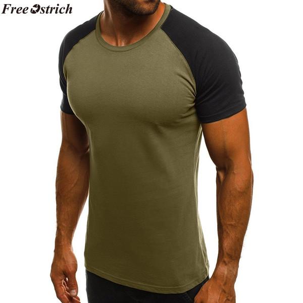 GRATIS OSTRICH verano costuras de los hombres de fitness de manga corta camiseta O-cuello masculino casual apretado de secado rápido tops camiseta más tamaño