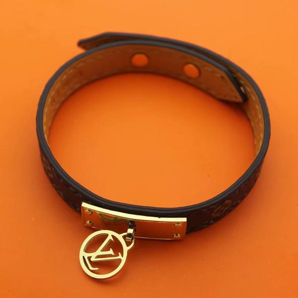 Hohe qualität Marke Schmuck echtes leder Pulseira Armband Armreif 18 karat Gold silber rose vergoldet leder brief V Armband Für Frauen männer