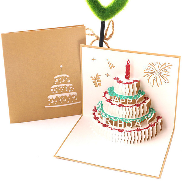 3D Birthday Card Creative Candle Cake Birthday Gift Gift Paper Mingxin Small Card Invitation Gift Cards