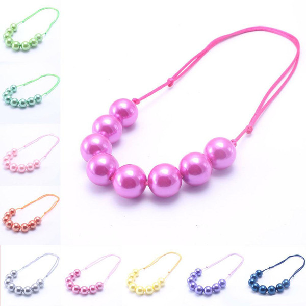 best selling New Design Adjusted Rope Baby Kid Chunky Necklace Fashion Toddlers Girls Bubblegum Bead Chunky Necklace Jewelry Gift For Children
