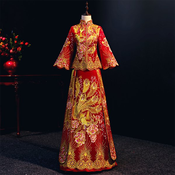 33ef4344f8dee 2019 Red Women Phoenix Embroidery Wedding Dress Bride Traditions  Traditional Evening Gown Chinese Cheongsam Red Long Sleeve Qipao From  Braces, $26.31 ...