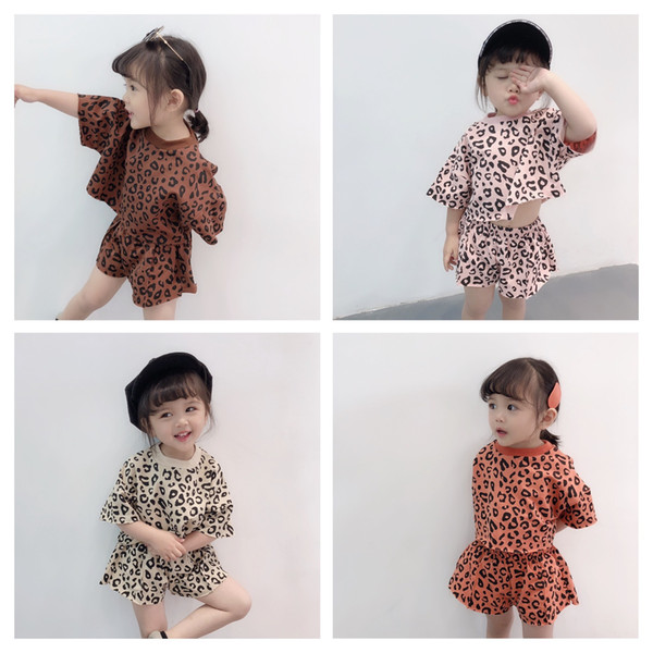 2019 New Korean Baby Girls leopard sportswear 2pc Suits Clothing Sets Kids Summer tshirt+Short Casusal Outfits Tracksuits Suit Clothes
