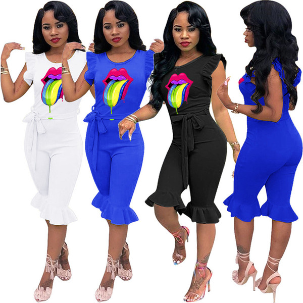Moda Kadınlar Jumpsuit Renk Dudaklar Petal Sleeve fırfır Tulumlar tulum Pantolon Trendy Şort Pantolon tulumları Dantel Siyam Pantolon C72504