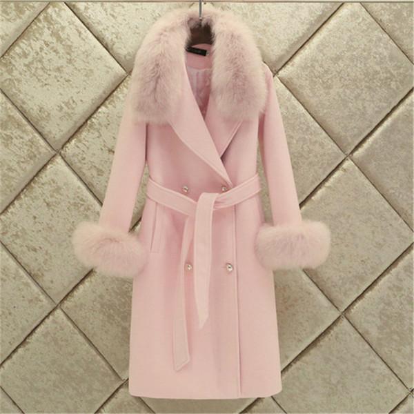 Fashion Women Woolen Coat 2019 Winter New Slim Solid Pocket Double-Breasted Big Fur Collar Thick Warm Woolen Coat Female Outwear DT191023
