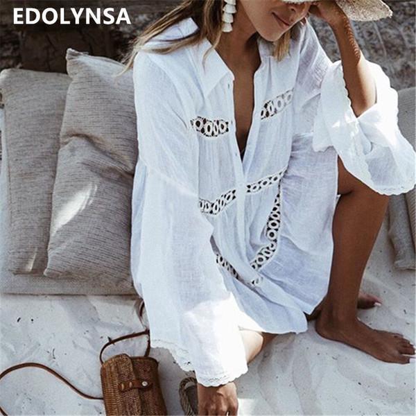 Túnica de algodón Vestido de playa 2019 Mini Vestido Blanco Más Tamaño Vestidos de Estilo Bohemio Mujeres Sexy Vestidos de Verano Vestidos n429 MX19070107