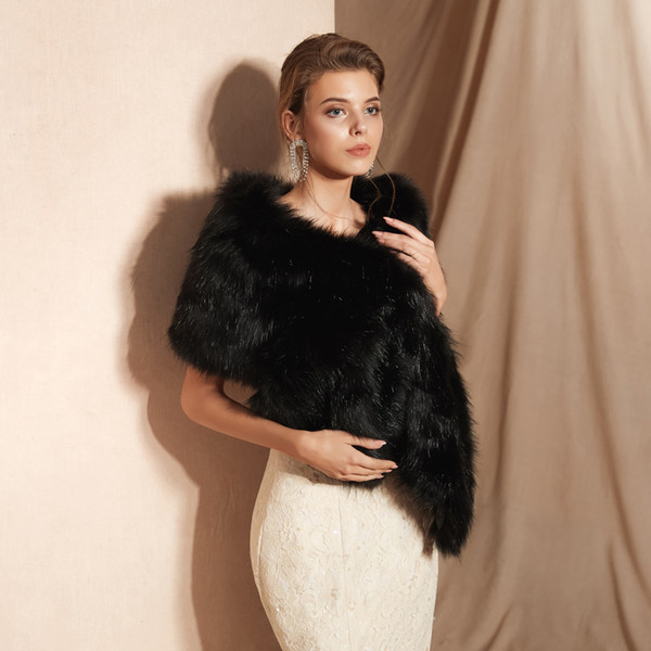 CMS18113 For Weddings and Events Women Luxury Bridal Faux Fur Black Shawl Wraps Cloak Coat Sweater Cape Women Shawl For Special Occasion