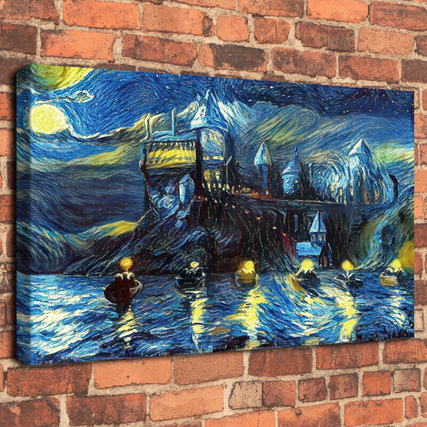 Van Gogh Starry Night Harry Potter Castle Night Boats Handpainted &HD Print Oil Painting On Canvas Wall Art Canvas Pictures
