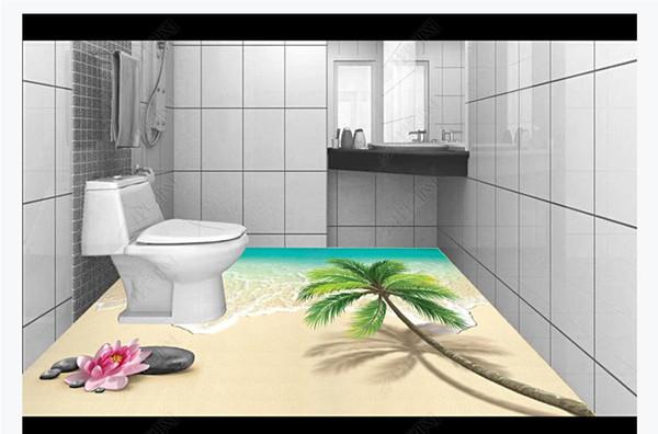 Maßgeschneiderte 3D selbstklebende Boden Fototapete 3D Bad Boden Stein Strand Kokospalme Brandung wasserdicht Boden Malerei Aufkleber