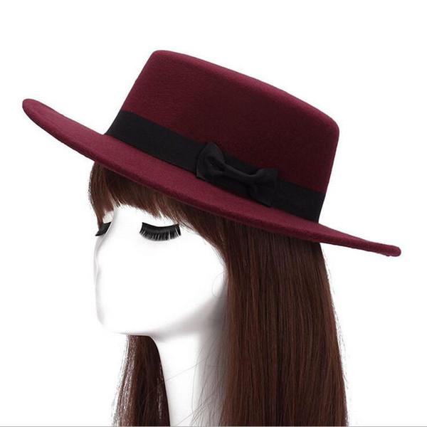 2016 Automne Hiver Hommes Chapeaux Fedoras Vintage Femmes Filles Feutre Fedoras Plat Top Jazz Chapeau Église Chapeaux Seau Chapeau Chapeau D19011103