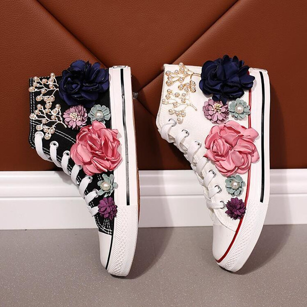 Rustic Country Wedding Shoes Women Handmade Crystals Pearls Sneakers Bridal flat Shoes Canvas plimsoll bridesmaid Sneaker shoes size 35-39