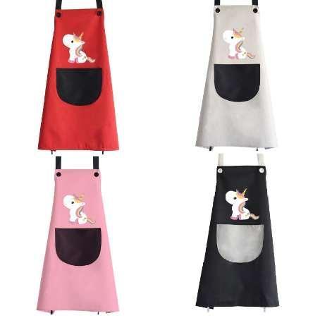 Unicorn Önlükleri Büyük Boy Karikatür Su Geçirmez Mutfak Önlüğü Parti Pişirme Pişirme Önlükleri Kolsuz Cep Yetişkin Barbekü Önlüğü Önlük