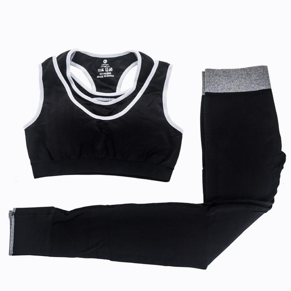 Yoga da donna 2 pezzi Set Reggiseno sportivo fitness + Pantaloni leggings elastici Tuta sportiva Allenamento da jogging Allenamento Set da corsa