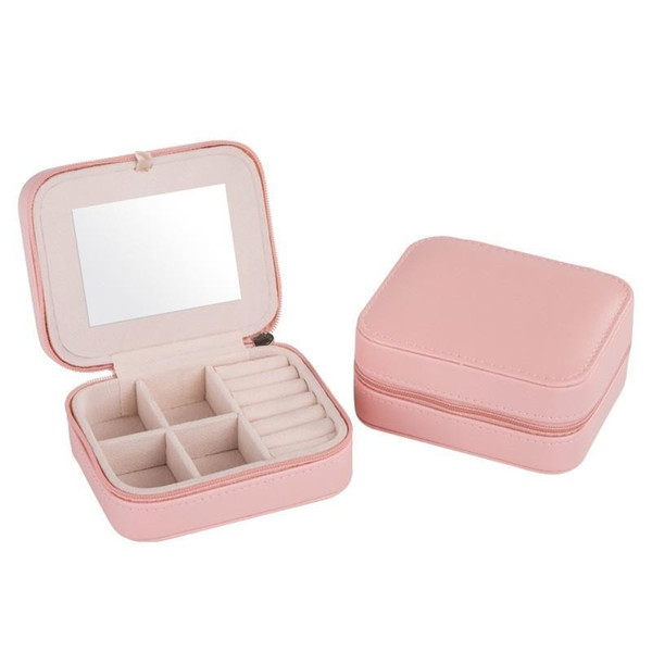 Square Jewelry Storage Box Creative Easy To Carry Organizer Rings Earring Necklace And Bracel Leather Boxes With Mirror