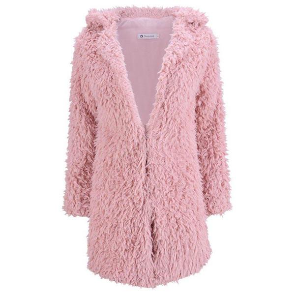 Women Fashion Winter V Neck Coat Jacket Long Sleeve Warm Faux Fur Outwear Overcoat Ladies