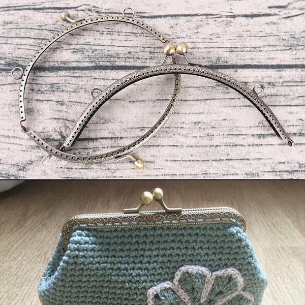 Retro Alloy Metal Flower Purse Bag DIY Craft Frame Kiss Clasp Lock Bronze FB