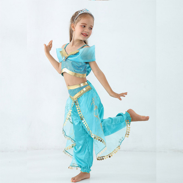 best selling Child Stage Princess Costume Magic Lamp Children Belly Dance India Dance Clothes Sequined Post Child Role Playing Stage Costume